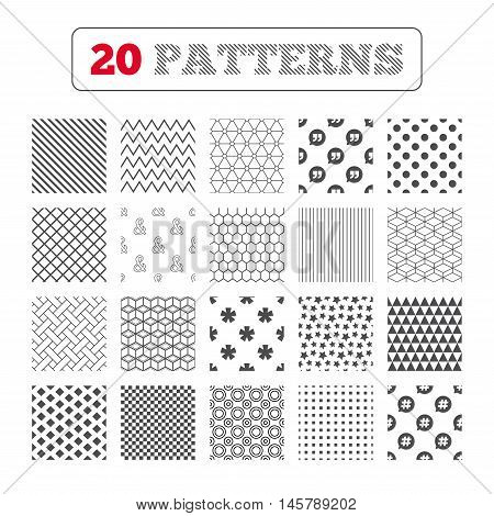 Ornament patterns, diagonal stripes and stars. Quote, asterisk footnote icons. Hashtag social media and ampersand symbols. Programming logical operator AND sign. Speech bubble. Geometric textures. Vector