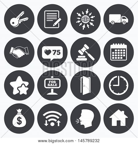 Calendar, wifi and clock symbols. Like counter, stars symbols. Real estate, auction icons. Handshake, for sale and money bag signs. Keys, delivery truck and door symbols. Talking head, go to web symbols. Vector