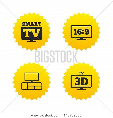 Smart TV mode icon. Aspect ratio 16:9 widescreen symbol. 3D Television and TV table signs. Yellow stars labels with flat icons. Vector