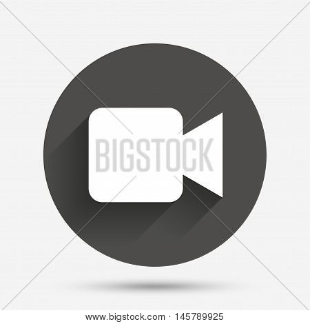Video camera sign icon. Video content button. Circle flat button with shadow. Vector