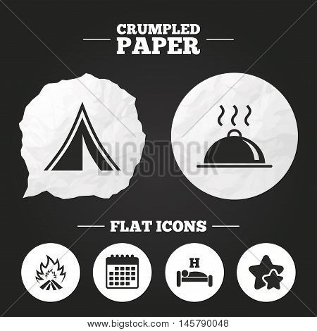 Crumpled paper speech bubble. Hot food, sleep, camping tent and fire icons. Hotel or bed and breakfast. Road signs. Paper button. Vector