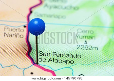 San Fernando de Atabapo pinned on a map of Venezuela
