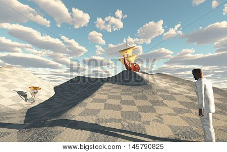 Ship crests on dune in checkerboard desert scene 3D Rendered