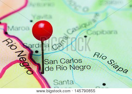 San Carlos de Rio Negro pinned on a map of Venezuela
