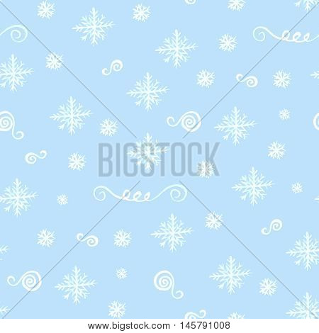 Seamless christmas pattern with watercolor white snowflakes