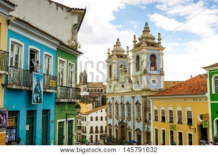 BAHIA, BRAZIL - CIRCA JULY 2016: The historic centre of Salvador, Bahia, Brazil