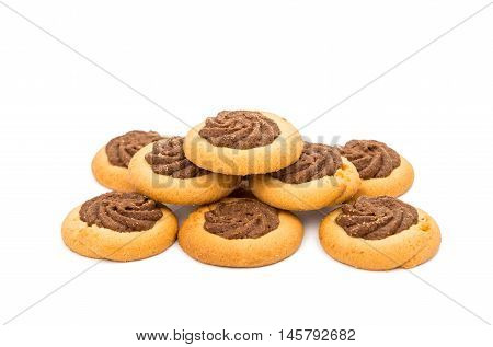 chocolate dessert cookies on a white background
