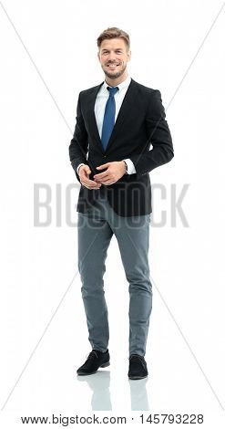 Successful business man on white background