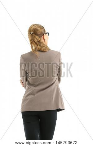 Business woman stand back side with white wall background
