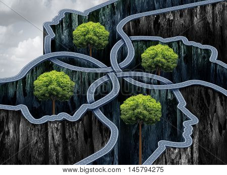 Connected business network success as roads shaped as a group of human heads as a networking concept with 3D illustration elements.