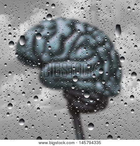 Brain disease concept and dementia or depression as a mental health and neurology medical symbol with a thinking human organ as a foggy rain drop window as a creative concept for alzheimer disease with 3D illustration elements.