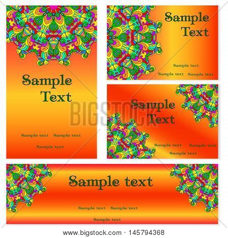 Business templates set. Business cards invitations and banners. Mandala pattern and ornaments. Happy design pattern. Arabic India Islam Asia.