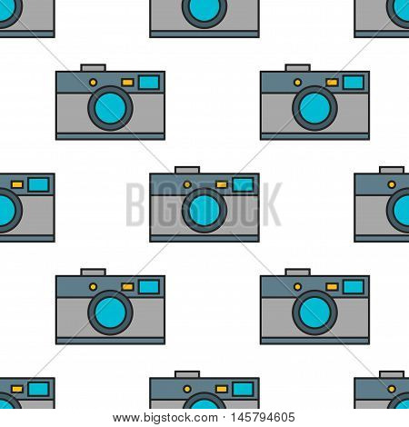 Seamless pattern of photo cameras, flat color objects on white background. Vector illustration