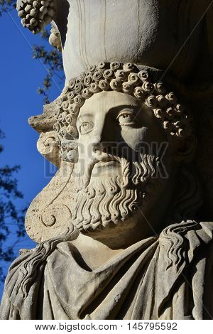 Old classical herme from Villa Borghese public park in Rome