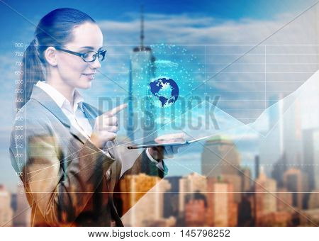 Young businesswoman in global business concept