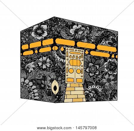 Vector. Isolated illustration of Kaaba, Mekka. Saudi Arabia. Islamic sacred mosque Al Haram. Floral hand drawn pattern. Doodle.