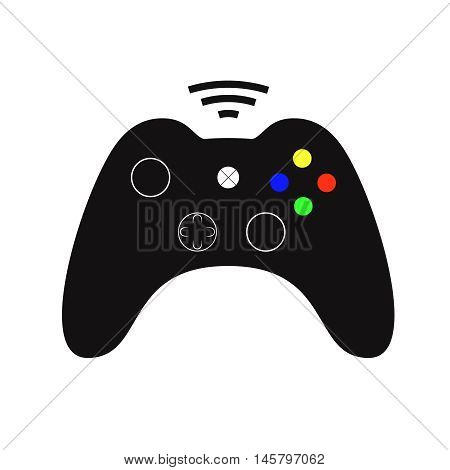 Black joystick. Simple gaming controller illustration. Isolated on white. Vector. EPS 8