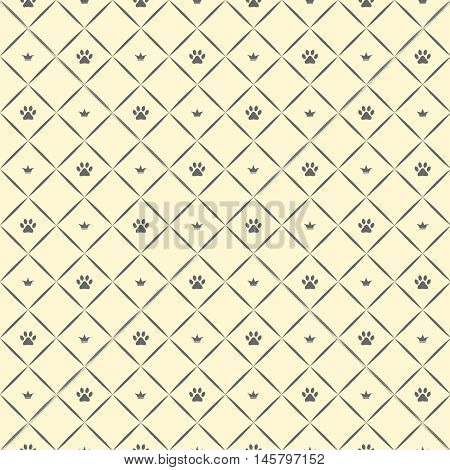 Seamless luxury cat paw pattern with crowns. Beige and grey print. Vector illustration.