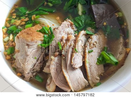 Duck spices noodle soup, Asian food in Thailand