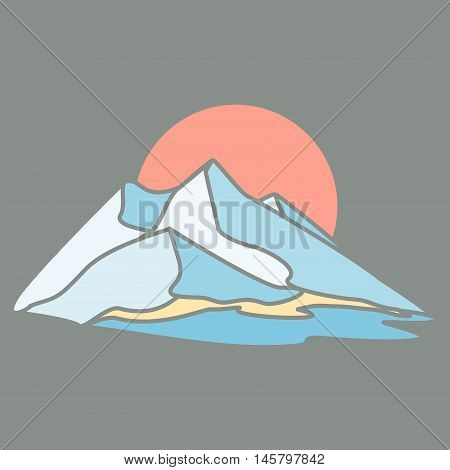 Mountain island. The dark background. Series consisting of mountains