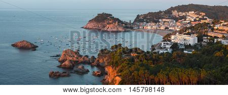 Panorama of the town of Tossa de Mar at early morning, Spain