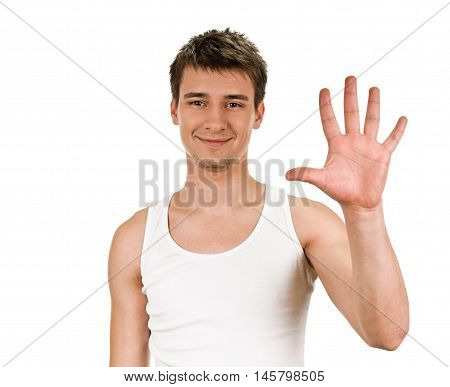 Portrait of happy smiling man showing five fingers, isolated over white background