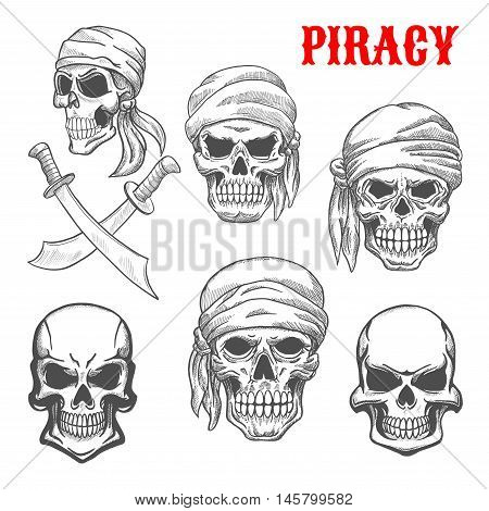 Pirate skulls in head scarfs. Artistic pencil sketch icons. Cranium and crossbones in piracy style for cartoon, label, tattoo, t-shirt, halloween poster
