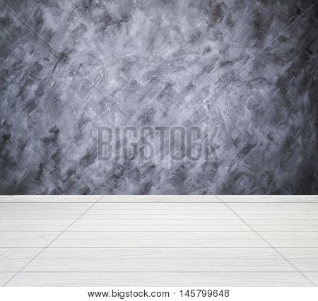 Room Interior With Concrete Wall (loft Style) And Wood Floor Background