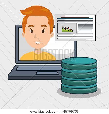 man data base laptop vector illustration eps10