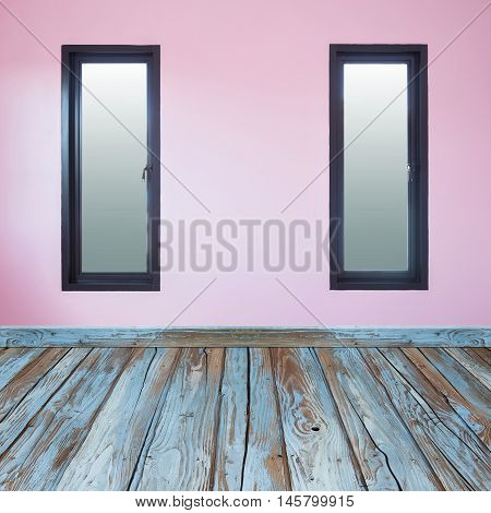 Room Interior With Window And Wood Floor
