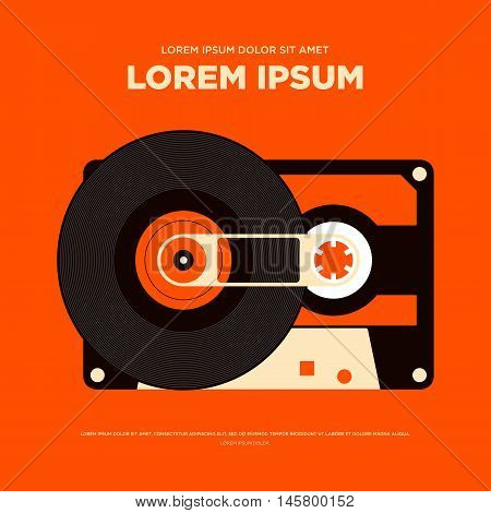 Abstract vintage retro music poster tape cassette background isolated vector illustration