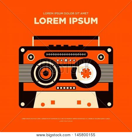 Abstract vintage retro music poster radio cassette background isolated vector illustration