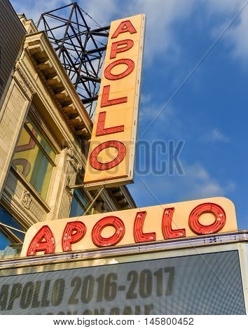 New York City - August 13 2016: Apollo Theater in Harlem New York City. It is one of the oldest and most famous music halls and listed on the National Register of Historic Places.