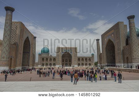Samarkand, Uzbekistan - April 26, 2015: People in The Registan square.