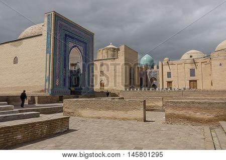 Samarkand, Uzbekistan - April 26, 2015: Shah-I-Zinda memorial complex necropolis in Samarkand Uzbekistan. UNESCO World Heritage