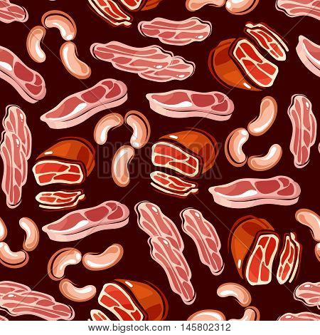 Sausages and bacon slices seamless background. Wallpaper with pattern of sausage, bacon, smoked meat for restaurant menu, grocery shop, food package