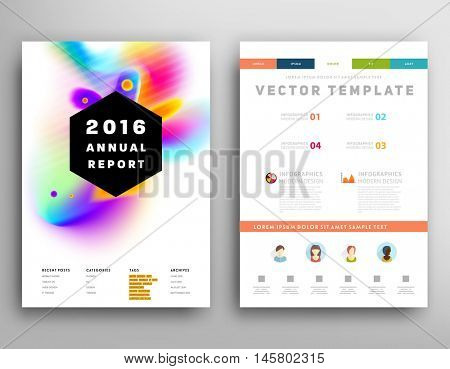 Cover template with abstract watercolor elements for business designs and backgrounds.