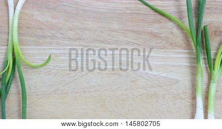 Green Onion. Vegetarian Food On Wood
