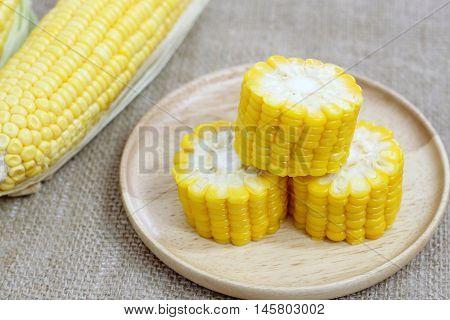 Fresh Corn On Wood Plate