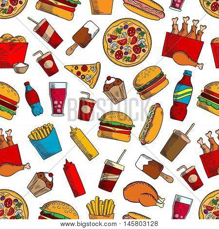Fast food seamless background. Hamburger, chicken leg, muffin, cheeseburger, coke, fries, soda, hot dog, pizza, ice cream, coffee ketchup mustard cupcake icons Kitchen or restaurant decoration wallpaper