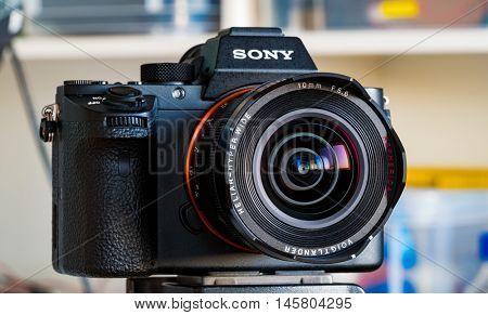 BERLIN, GERMANY - June 06, 2016: Sony a7R II Alpha Mirrorless Fast-focusing and 4K-shooting Digital Camera with Voigtlander 5.6/10 Lens