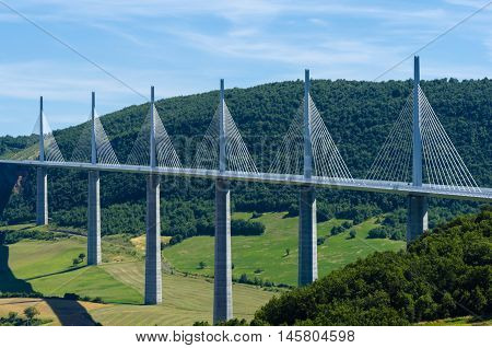 The beautiful Millau cable-stayed bridge in France poster