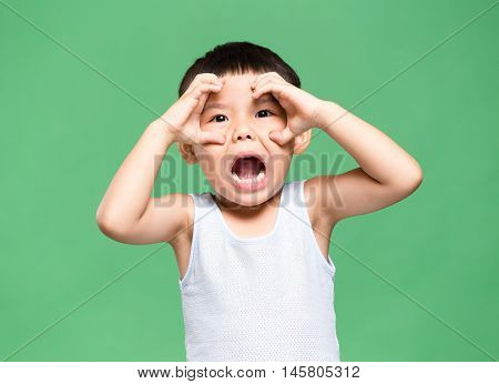Excited Young kid scream