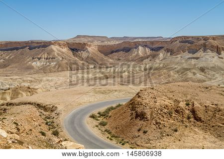 The Ramon Crater, road in Makhtesh Ramon, nature reserve in Negev desert, Israel