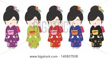 Vector Friendly and Welcoming Cartoon Japanese Kimono Costume Women Portrait, isolated on white background