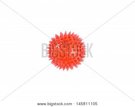 Small red bouncy ball on white background.