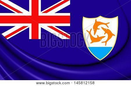 Flag of Anguilla. 3D Illustration. Close Up.