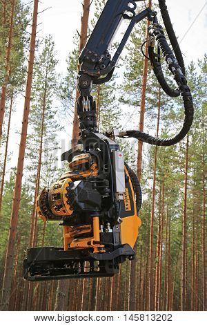JAMSA FINLAND - SEPTEMBER 2 2016: Ponsse harvester head as seen on the Ponsse forest machinery work demonstration on FinnMETKO 2016.
