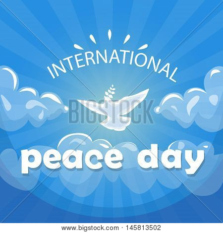 World Peace Day Poster White Dove Bird Fly In Sky Flat Vector Illustration
