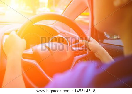 Driving car with shining light. Car Traveling.